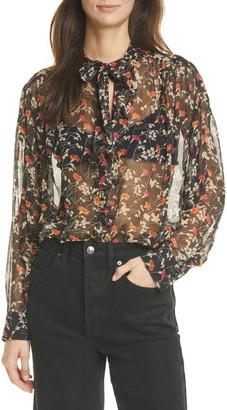 Joie Maiza Floral Print Sheer Long Sleeve Silk Top