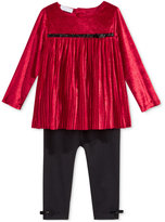 First Impressions Baby Girls' 2-Pc. Long-Sleeve Pleated Velvet Tunic & Leggings Set, Only at Macy's