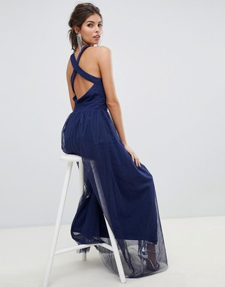 Little Mistress cross back straps and pleated waist mesh maxi dress-Navy
