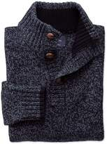 Navy Mouline Button Neck Wool Jumper Size Small By Charles Tyrwhitt