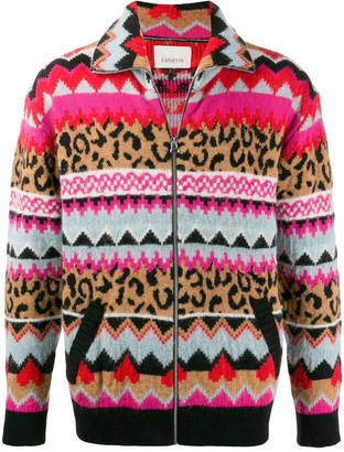 Laneus Mixed-Print Zip-Up Jacket