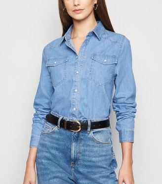 New Look Tall Popper Front Denim Shirt