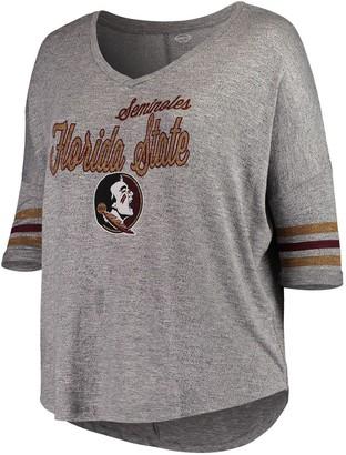 Women's Concepts Sport Gray Florida State Seminoles Plus Size Cozy Tri-Blend V-Neck 3/4-Sleeve T-Shirt