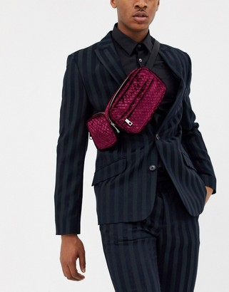 Asos Edition EDITION multi pocket cross body fanny pack in quilted burgundy-Red