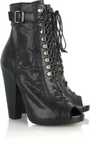 Lace-up textured leather boots