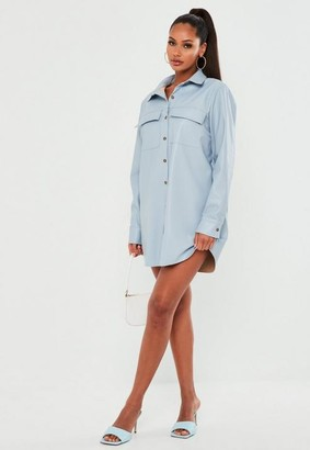 Missguided Blue Faux Leather Shirt Dress