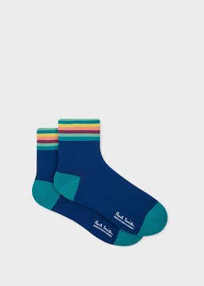 Paul Smith Men's Navy Artist Stripe Cuff Cycling Socks