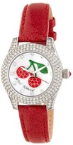 Betsey Johnson Women's Crystal Cherry Leather Watch