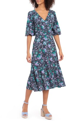 Maggy London Floral Bubble Crepe Midi Dress