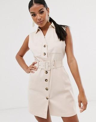 NA-KD Na Kd mini sleeveless utility style dress with belt in light beige