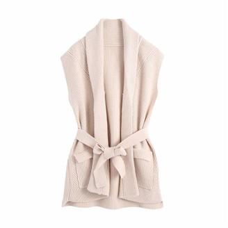 YTYH Collar Sleeveless Long Sweaters Lady Knitwear Women Knitted Cardigans with Belt Female Casual Turn Down Beige L