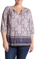 Daniel Rainn 3/4 Sleeve Printed Blouse (Plus Size)