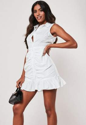 Missguided White Poplin Sleeveless Shirt Dress