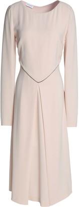 Vionnet Satin-trimmed Fluted Crepe Midi Dress