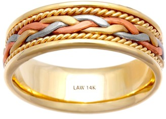 Wedding Rings Depot 14k Tri-Color Gold Braided Design Comfort Fit Women's Wedding Bands