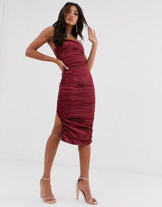 The Girlcode ruched satin midaxi dress in berry-Red