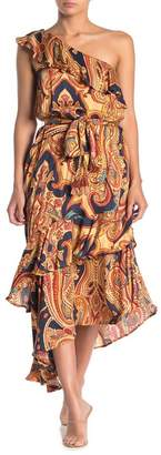 Love Stitch Paisley Print One-Shoulder Ruffle Maxi Dress