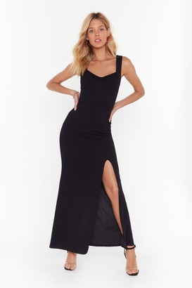 Nasty Gal Womens What You Cup to Tonight Slit Maxi Dress - black - 8