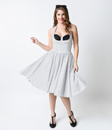 Unique Vintage Iconic by UV White & Black Dot Tierney Halter Swing Dress