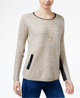 Amy Byer Juniors' Faux-Leather-Trim Sweater