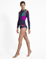 Cynthia Rowley Zip Front Color Block Rashguard