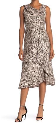 Taylor Leopard Print Pleated Satin Dress