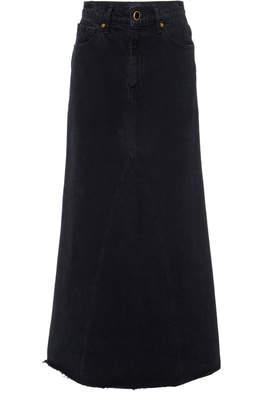 KHAITE Magdelena Dark-Wash Denim Maxi Skirt Size: 24