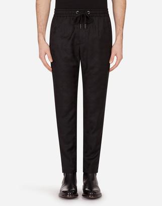 Dolce & Gabbana Wool Jacquard Jogging Pants With Logo