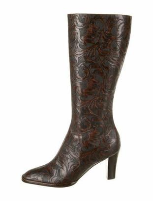 Oscar de la Renta Leather Paisley Print Boots Brown