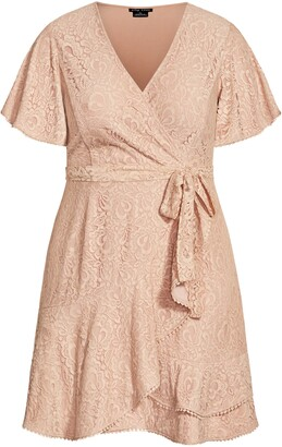 City Chic Sweet Luv Faux Wrap Lace Dress