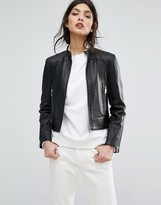 Jaeger Raw Edge Leather Jacket