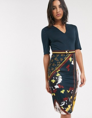 Ted Baker sweetheart neck and spliced print midi dress