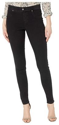 KENDALL + KYLIE Zip Back Denim Leggings (Black Wash) Women's Casual Pants