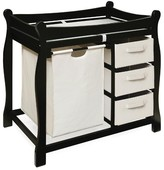 The Well Appointed House Black Sleigh Style Changing Table with Hamper and 3 Baskets