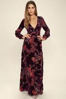 LuLu*s Practical Magic Burgundy Velvet Floral Print Maxi Dress