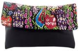 Black Leather Clutch Bag with Multi Color Hand Woven Cotton, 'Chichicastenango Colors'