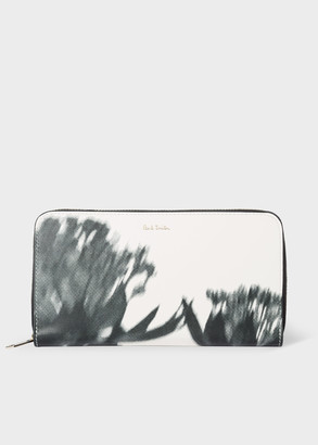 Paul Smith Women's Black 'Screen Floral' Leather Zip-Around Wallet