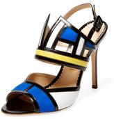 Aperlaï Colorblock Snakeskin Sandal