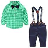 JELEUON Baby Boys Toddler 2 Pcs Plaid Bow Tie Shirt + Suspenders Pants Gentleman Outfits 6-12 Months