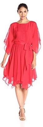 Amy Byer Women's Lace Kimono Dress with Hankerchief Hem
