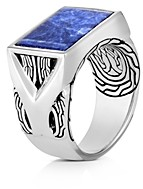John Hardy Sterling Silver Classic Chain Sodalite Signet Ring
