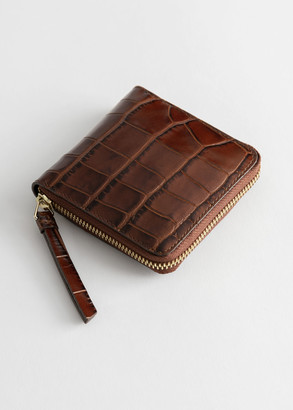 And other stories Croc Embossed Leather Zip Wallet