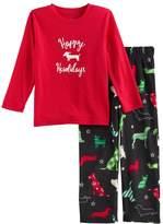 Toddler Boy Jammies For Your Families Holiday Dog Top & Fleece Bottoms Pajama Set