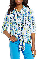 Allison Daley Button Down Tie-Front Dot Print Blouse