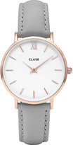 Cluse CL30002 Minuit rose gold-plated stainless steel and leather watch