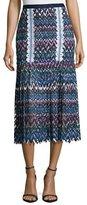Saloni Diana C Chevron Lace Midi Skirt, Multicolor