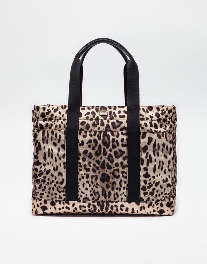 Dolce & Gabbana Nylon Nappy Bag With Leo Print