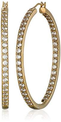 Swarovski Yellow Gold Plated Sterling Silver Inside-Out Hoop Earrings set with Zirconia (3 cttw)