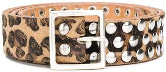 Golden Goose Studded Leopard Print Belt