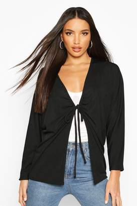boohoo Ruched Tie Front Ribbed Kimono